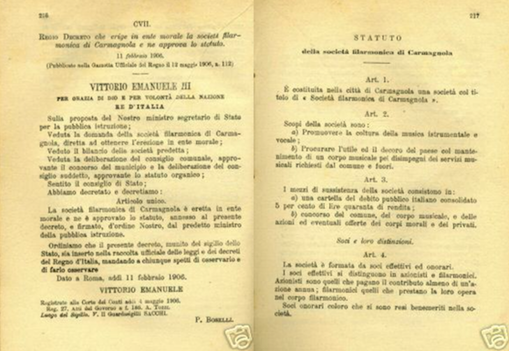 Regio Decreto che erige Ente Morale la Societa Filarmonica di Carmagnola (11 febbraio 1906)