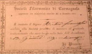 Antica Scritta Società Filarmonica di Carmagnola